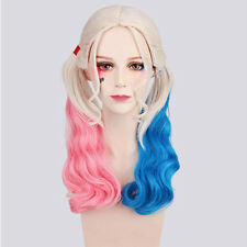 Harley Quinn Wig for Cosplay Synthetic Hair Curly Pink Blue Costume Full Wig Hot