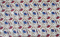 Indian 100% Cotton Voile Fabric red Multi Sewing Hand Block Print Craft 5 yard