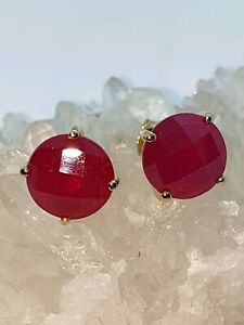 ❤JAYNES GEMS    AAA 11.850CT RUBY STUD EARRINGS 9K Y GOLD.