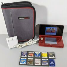 Nintendo 3DS RED System Bundle 10 Games + Stylus Charger 2GB SD Card - TESTED