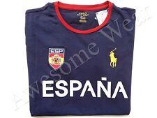 New Ralph Lauren Polo Pony Custom Fit 100% Cotton Navy Spain T Shirt Slim XXL