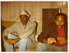 Vintage 80s PHOTO Pair Young Black Men Guys Relaxing
