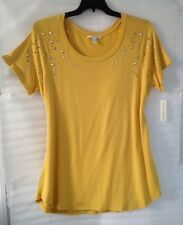 Maria Gabrielle Women's Plus size Blouse 22/20/2X Yellow Top New Short Sleeve