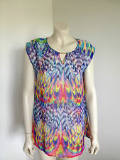 Sleeveless Chiffon Tribal Rainbow Multi Coloured Semi Sheer Size 10 - 12 ?