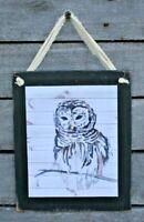 Owl Design Primitive Rustic Farmhouse Handmade Wooden Sign