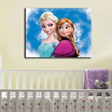 30×40×3cm Disney Frozen Anna Elsa Canvas Prints Kids Wall Art Framed Home Decor