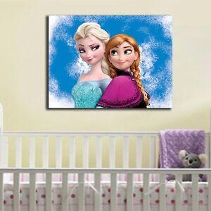30×40×3cm Disney Frozen Anna Elsa Canvas Prints Kids Wall Art Framed Home Decor