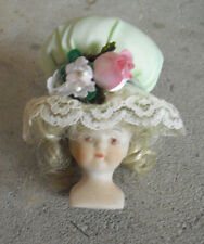"""Vintage 1970s Small Porcelain Girl Doll Head and Shoulders 2 1/2"""" Tall"""