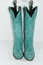 LANE WOMENS 8 SARATOGA TURQUOISE LEATHER SNIP TOE FLORAL STITCHING COWBOY BOOTS