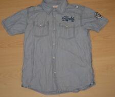 RIVALDI Garçon 10 -12 ans superbe chemise manches courtes bleue shirt chemisette