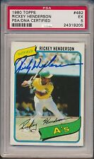 1980 Topps RICKEY HENDERSON #482 HOF Signed RC PSA/DNA 5 Rookie Auto 205