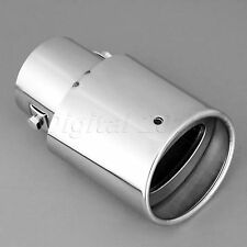 Car Universal Exhaust Pipe Tail Muffler Tip Rear Round Chrome Stainless Steel