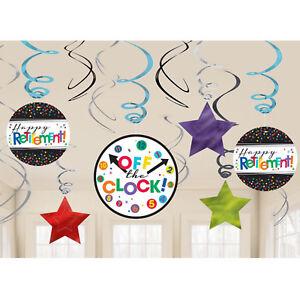 12 x Retirement hanging party decorations Swirls FREE P&P