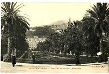 CPA 06 Alpes-Maritimes Monaco Monte-Carlo Jardins et Crédit-lyonnais animé
