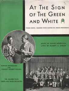 At the Sign of the Green and White 1930 Quaker State Motor Oil Sheet Music