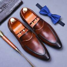 British Men's Real Leather Shoes Slip on Pointy Toe Banquet Flats Wedding 37-46