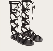 Frye Ruth Gladiator Tall Sandals Black Suede 7.5 $298