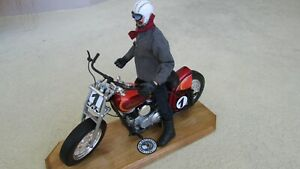 1948 Indian custom race motorcycle V twin with rider 1:6 scale & labeled stand