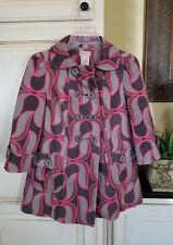 Elevenses Anthropologie Pink Gray Lotus Abstract Peacoat Swing Coat 0 NWOT