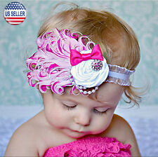 Baby Flower Feather Elastic Hairband Headband Toddler Girls US Stock (Rose Pink)