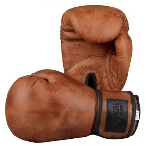 Vintage Leather GLOVES Retro Boxing Training MMA Fight Punching Glove Muay Mitts
