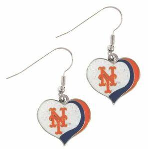 New York Mets MLB Sports Team Logo Glitter Heart Earring Swirl Charm Set
