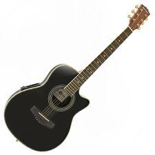Roundback Electro Acoustic Guitar by Gear4music Black