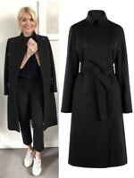 Karen Millen Black Tailored Trench Belted Military Warm Winter Coat 6 to 16 New