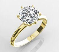 3.75 CT ROUND CUT VS1/D ENHANCED DIAMOND SOLITAIRE RING 18K YELLOW GOLD