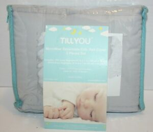 TILLYOU Reversible Crib Rail Protector Cover 3pc Set Gray/White