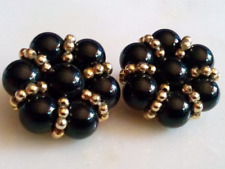 BLACK PLASTIC EARRINGS!Floral Motif!Black & Gold Tone Beads.Gold Tone.Clips.