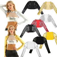 Womens Metallic Long Sleeve Crop Top Shiny Sequin Rave Party Jacket Bolero Shrug
