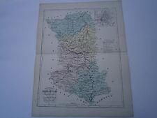 Carte 19°1852 couleur atlas Malte brun Département des Deux sévres plan de Niort