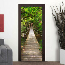 88cm Door Stickers Self-Adhesive Decal Drawbridge Jungle Walk Home Decoration