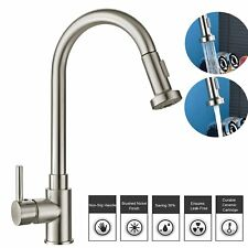 Modern Kitchen Sink Pull out Spray Mixer Tap Faucet Brushed Steel Swivel Spout