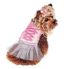 Iron On Embroidered Applique Patch Puppy Dog Yorkshire Terrier Yorkie Pink Tutu