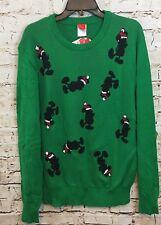 Mickey Mouse Christmas Sweater mens large green santa disney new P5