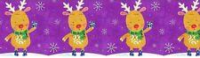 "1"" 2 Yards Christmas Grosgrain Ribbon Reindeer Hair Bows Gift Wrap Cards Purple"