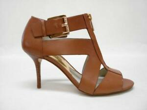 NIB MICHAEL BY MICHAEL KORS ANYA MID PEEPTOE ZIPPER PUMPS SANDALS 7.5M LUGGAGE