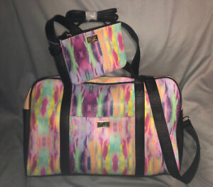 Luv BETSEY JOHNSON Weekender Luggage Bag TIE DYE +WRISTLET Crossbody 3 for 1 NWT