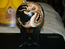 "4"" Decorative Ceramic Oriental Ball w/Raised Relief Dragon on Cast Iron Stand"