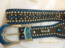 Kippy Belt Leather & Swarovski Crystal Studded Belt Blue Pave Buckle Scallop