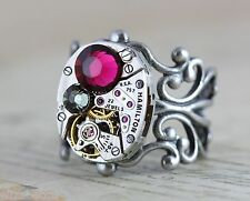 Ring Steampunk Unique Gift Cocktail Pink Statement Silver Retro Crystal Filigree
