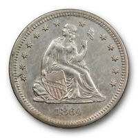 1864 25C Seated Liberty Quarter About Uncirculated AU Philadelphia Mint Date