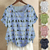 Plus Size Women Cat Print Short Sleeve Blouse Cotton Linen T-Shirt Tops Ceng