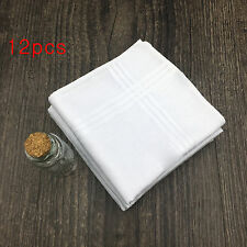 Pack of 12 White Luxury 100% Cotton Men's Hemmed Stitched Handkerchiefs,40x40cm