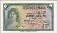 "ESPAÑA: 5 PESETAS CERTIF. PLATA (II REPUBLICA). AÑO 1935. ""SERIE J"". SC. IDEAL"