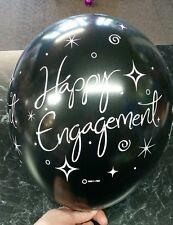 Engagement Latex Balloons Met Black. -  PKT 15 - Happy Engagement Balloons Black