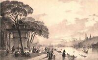 Istanbul ANDOLU HISARI SWEET WATERS OF ASIA BOSPHORUS RIVER, Old 1850s Art Print