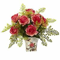 Nearly Natural 1379-DP Rose 7 Maiden Hair with Floral Planter, Dark Pink